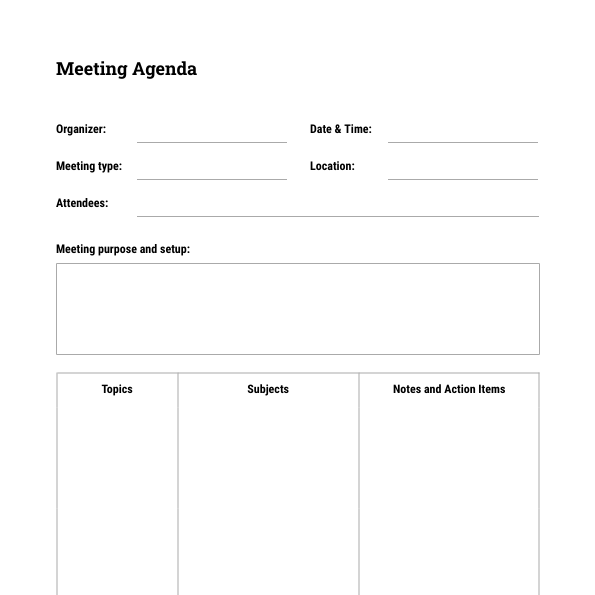 Free Meeting Agenda Template Moqups