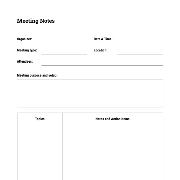 Meeting Notes Template | Moqups