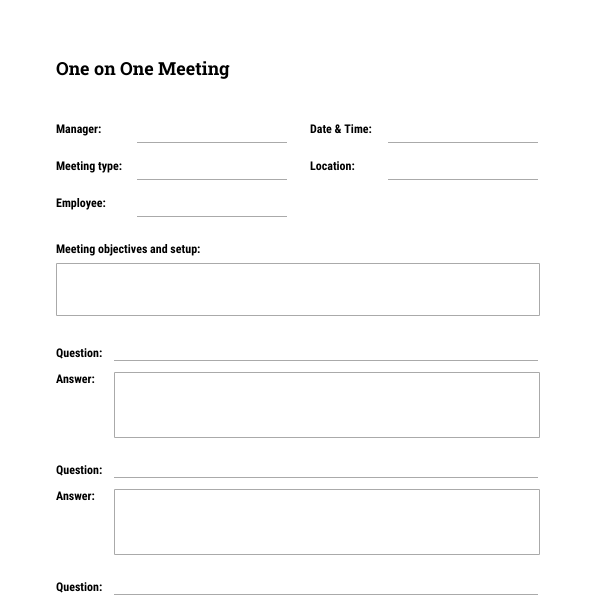 One on One Meeting