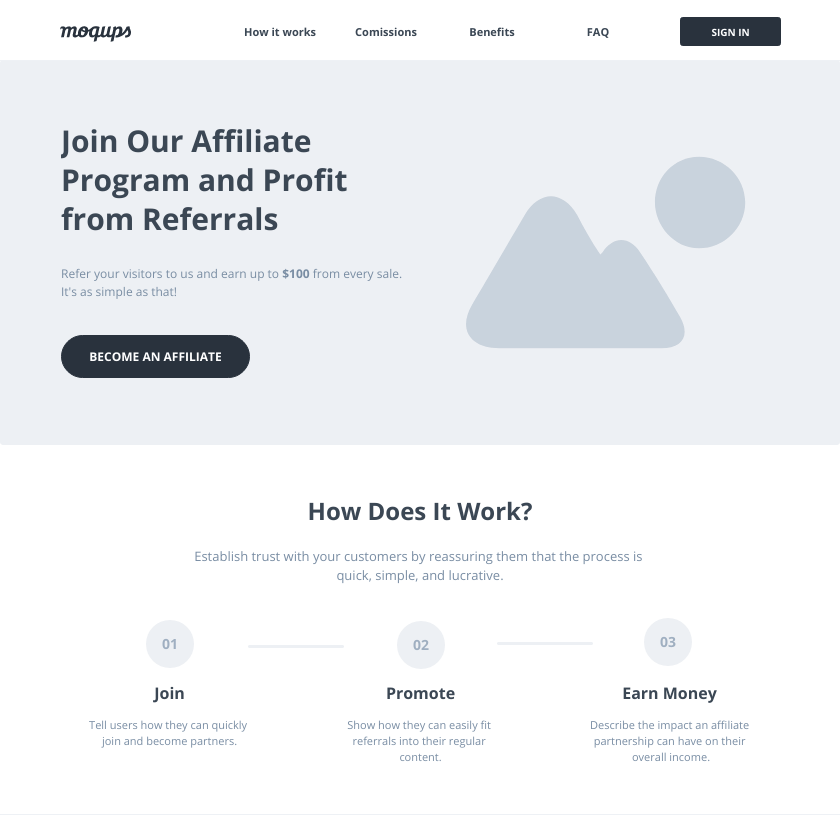 Affiliate Marketing Landing Page Wireframe Template | Moqups