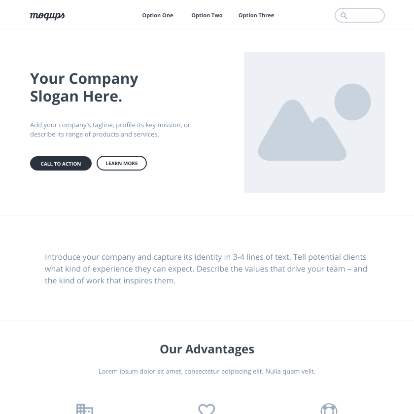 Business Landing Page Wireframe Template | Moqups