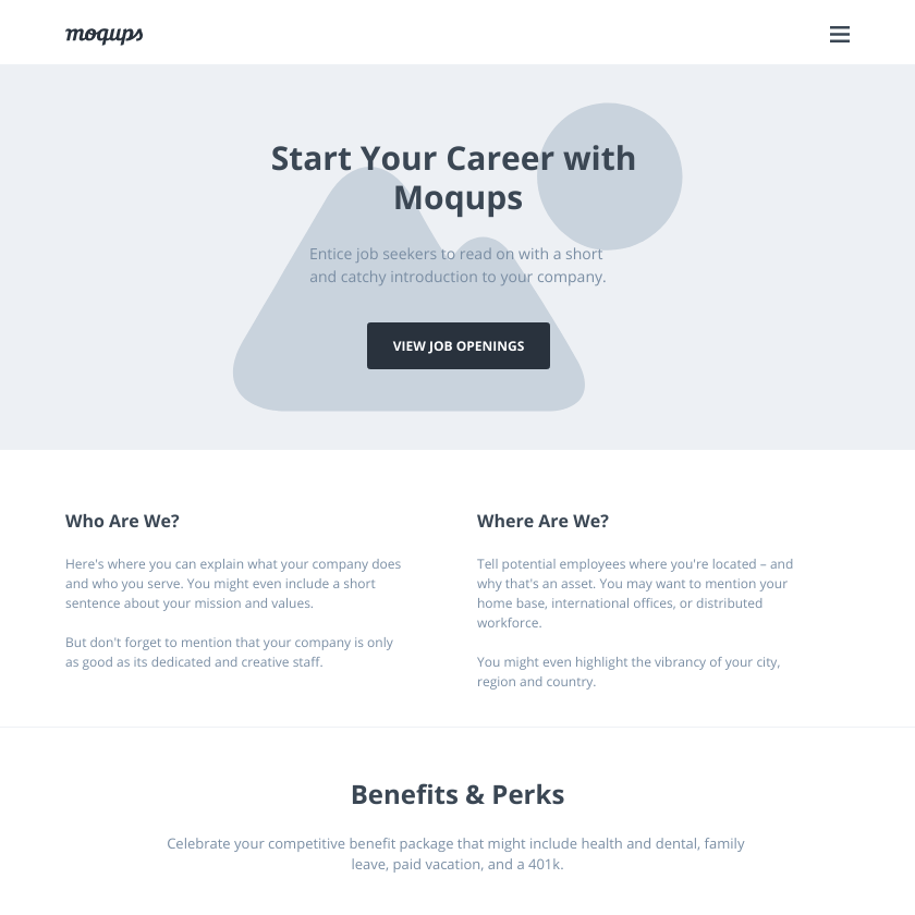 Career Page Wireframe