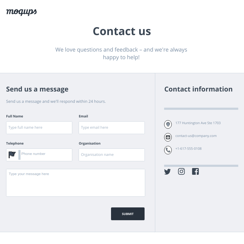 Contact Form Template | Moqups