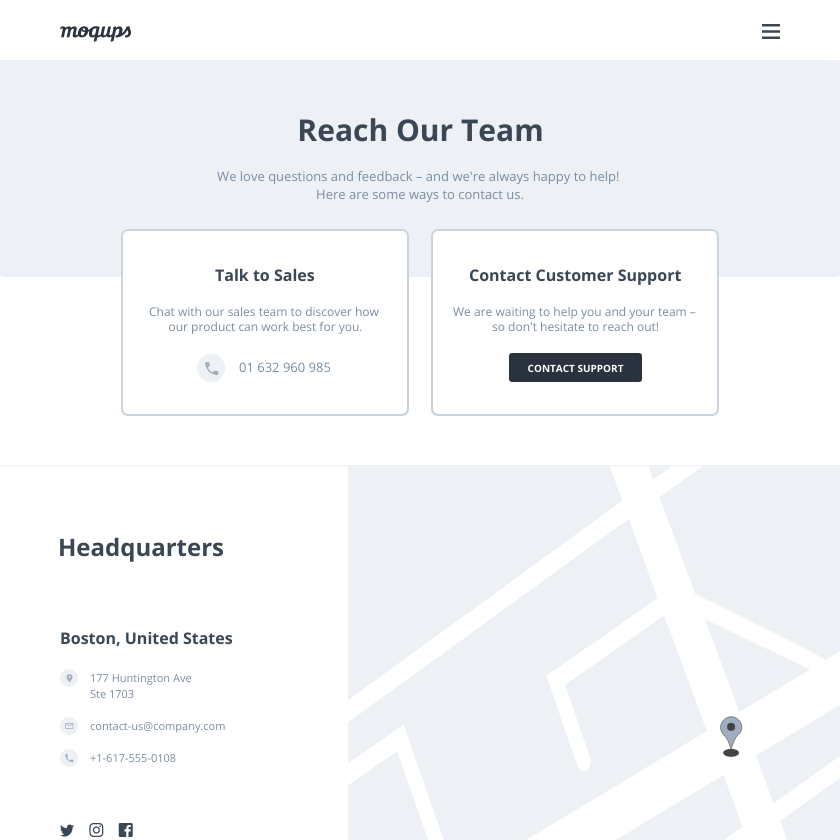 Contact Us Page Wireframe Template | Moqups
