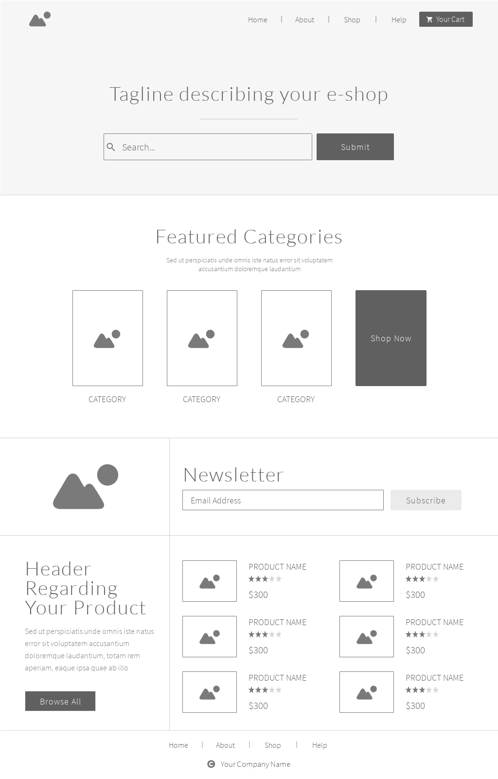example of an ecommerce website wireframe template