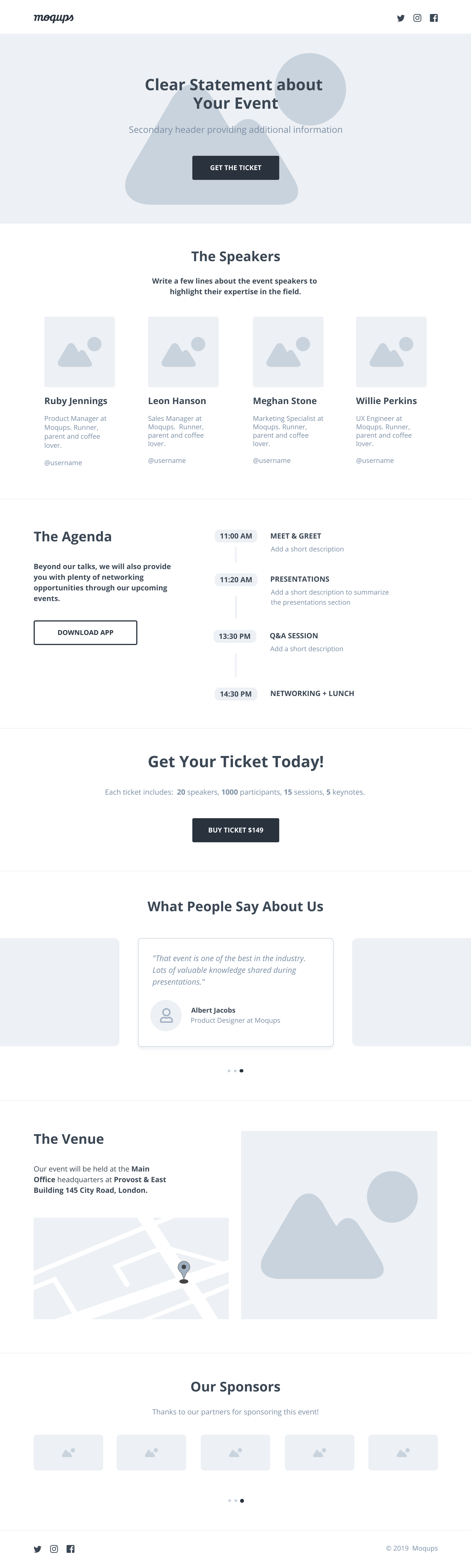 Event Landing Page Wireframe Template