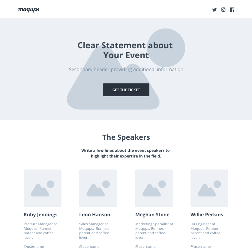 Event Landing Page Wireframe