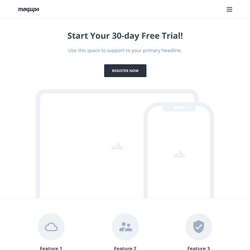 Free Trial Landing Page Wireframe Template | Moqups