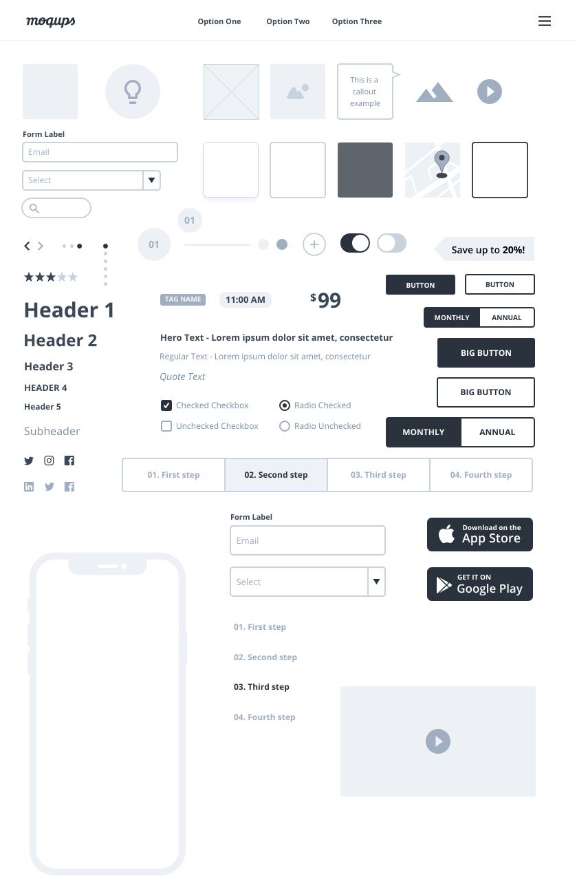 High Fidelity Wireframe Components