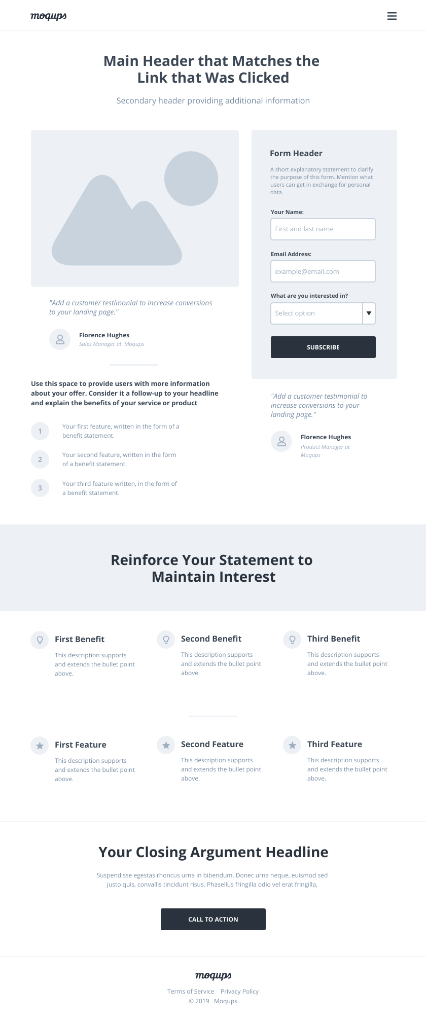 Lead Capture Landing Page Wireframe Template
