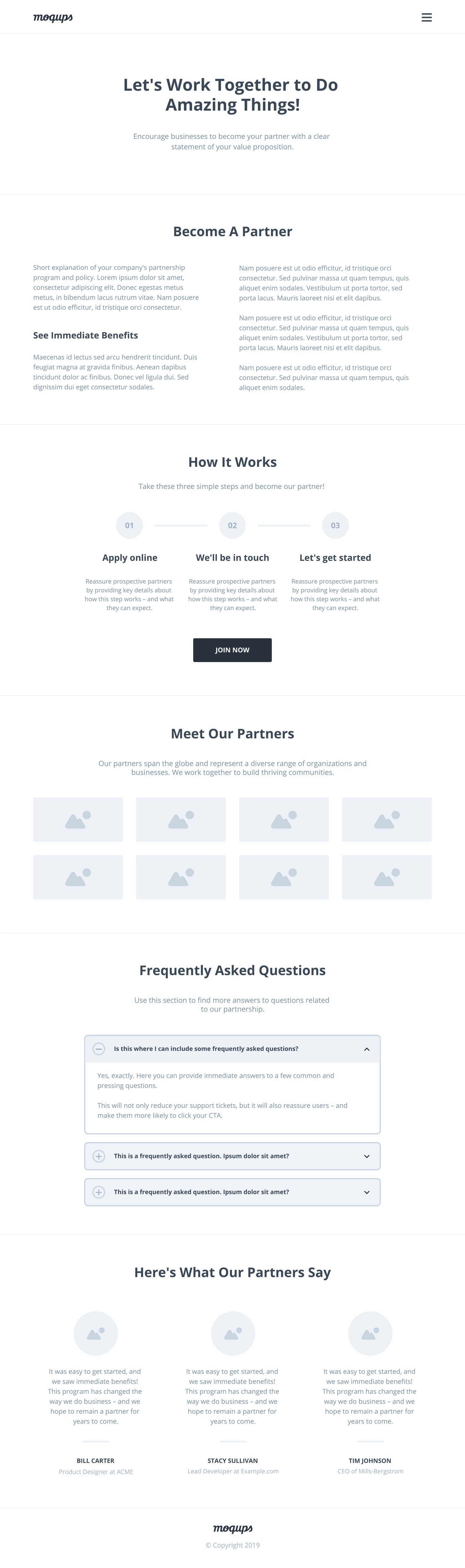 Partnership Landing Page Wireframe