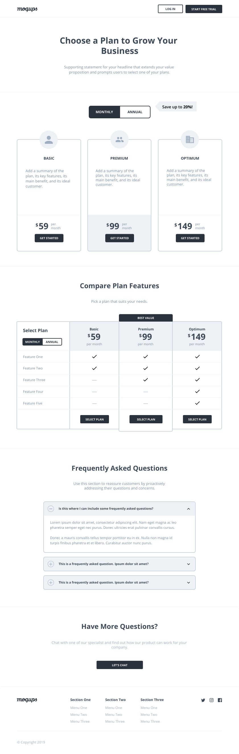 Pricing Page Wireframe Template