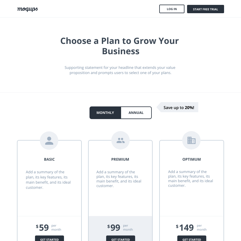 Pricing Page Wireframe Template | Moqups