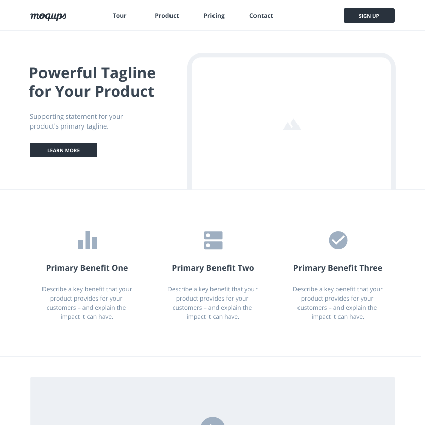 SaaS Landing Page Wireframe Template | Moqups