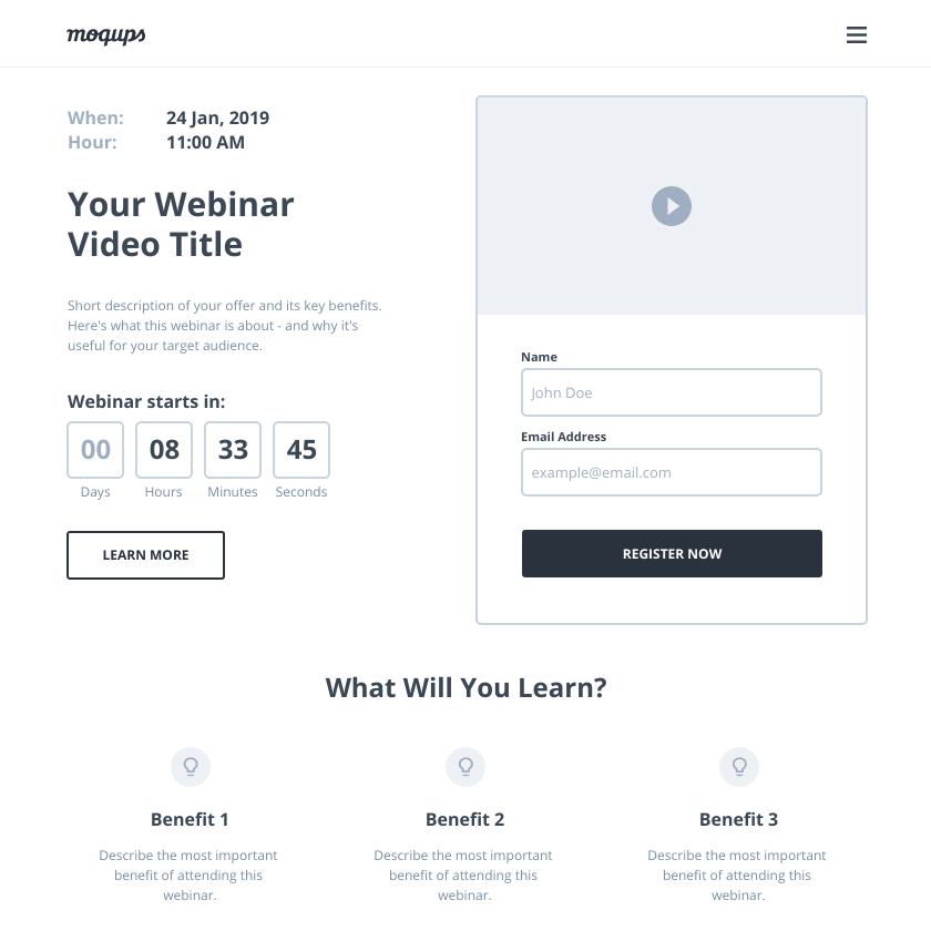Webinar Landing Page Wireframe Template | Moqups