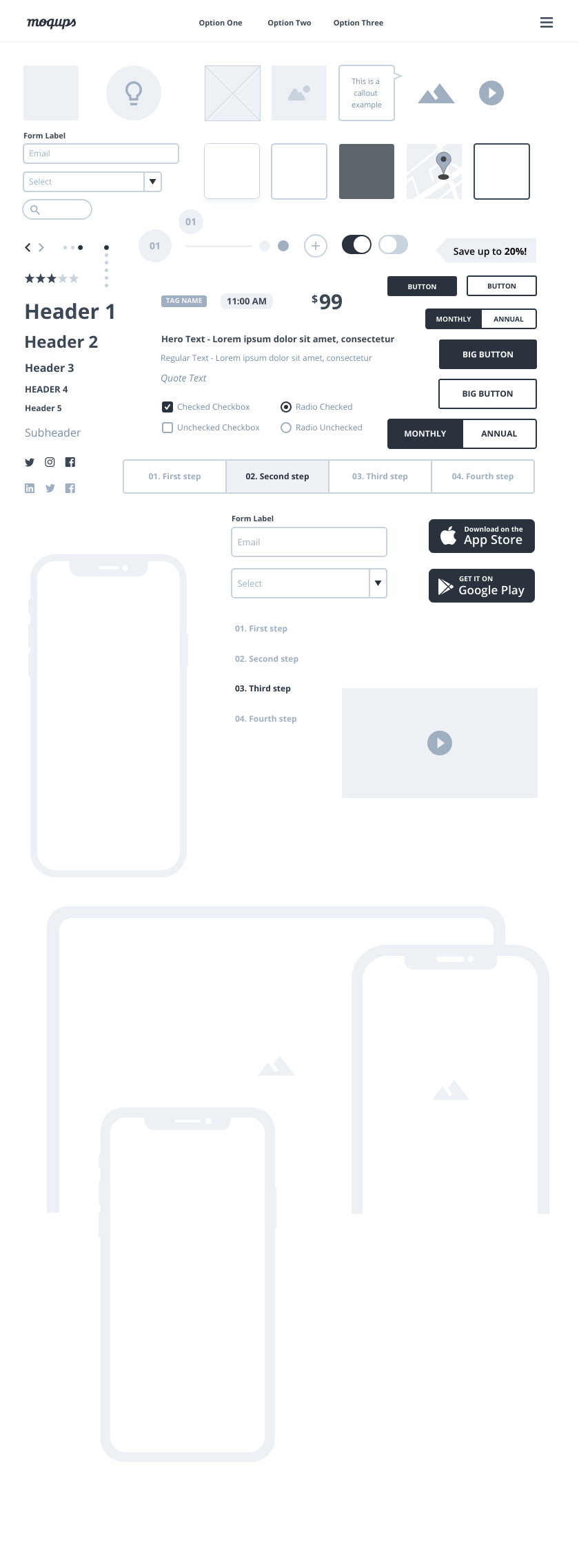Webinar Landing Page Wireframe Components
