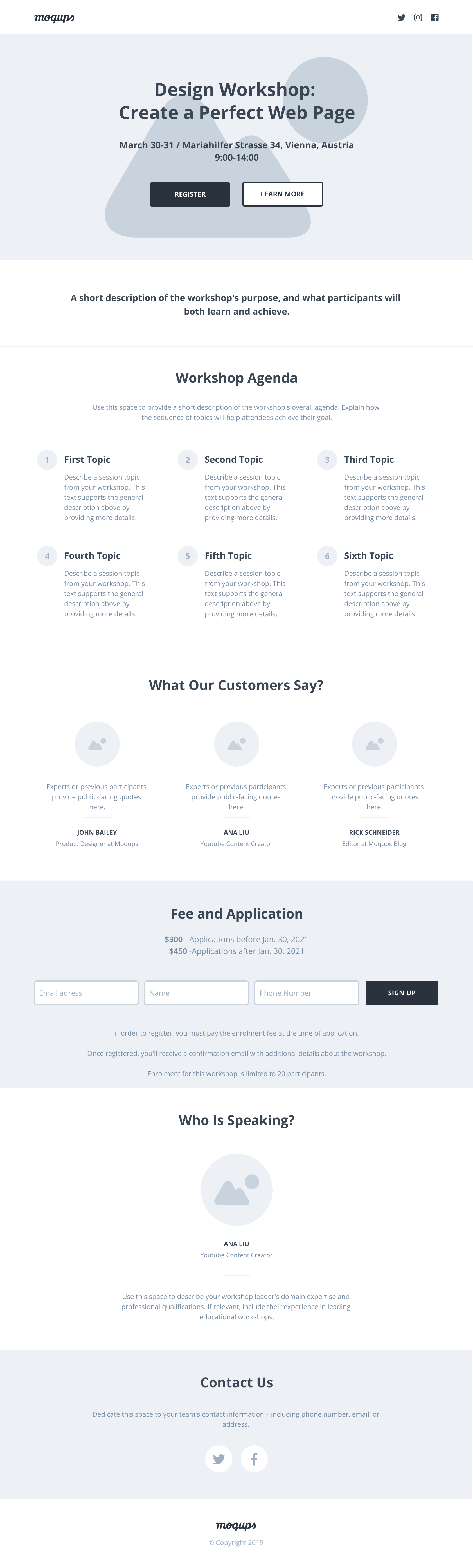 Workshop Landing Page Wireframe Template