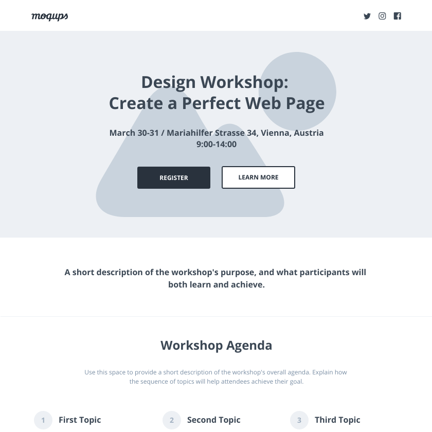 Workshop Landing Page Wireframe Template | Moqups