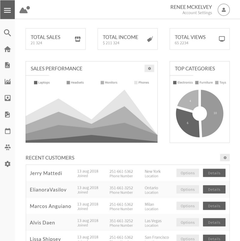 Admin Dashboard Wireframe Template | Moqups