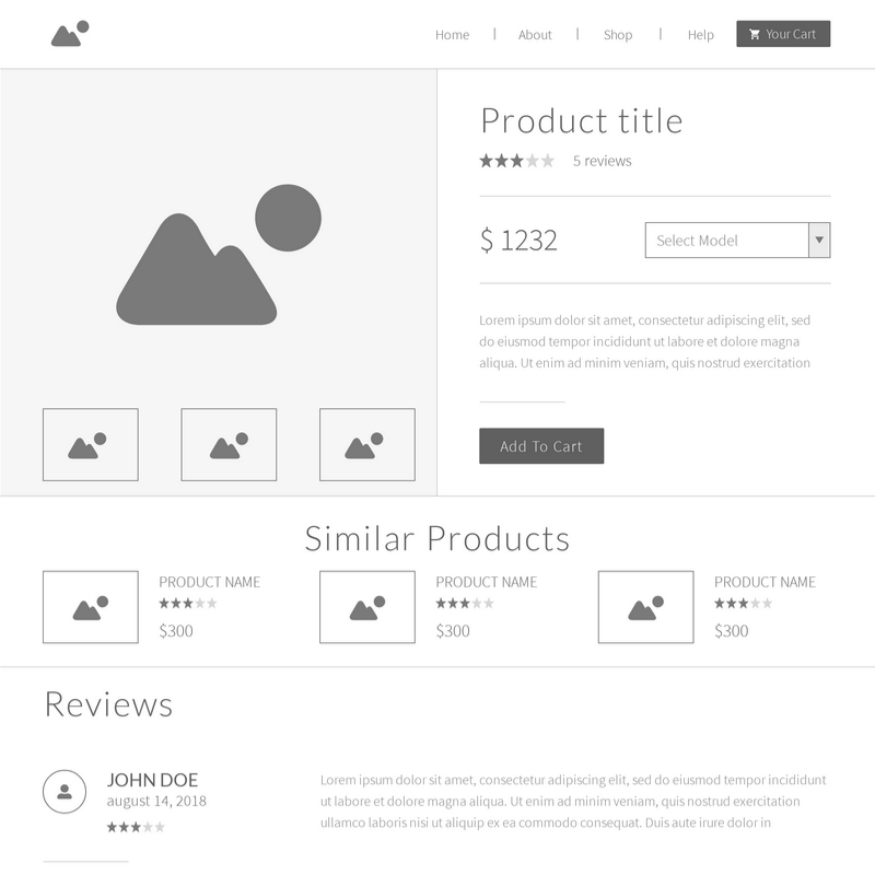 Ecommerce Website Wireframe Template | Moqups
