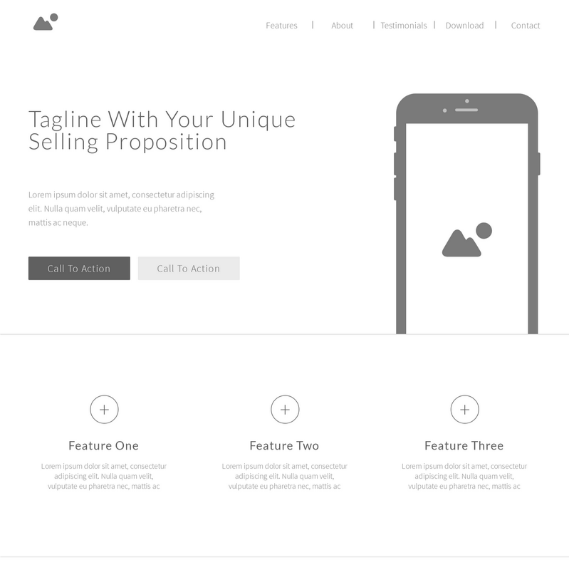Landing Page Wireframe Template | Moqups